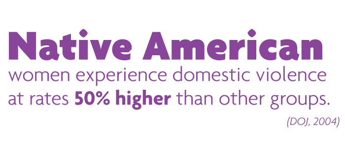 Native American women experience domestic violence at rates 50% higher than other groups